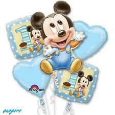 5 BABY MICKEY MOUSE FIRST BIRTHDAY BALLOON BOUQUET PARTY SUPPLY FAVOR DECORATION