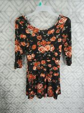 One Clothing Dress Size L Black Floral Pull Over 3/4 Sleeve Round Neck Casual