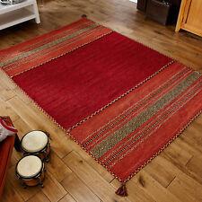 Oriental Weavers Kelim Rug Runner Cushion Hand Woven Cotton & Chenille Red 160 X 230 Cm