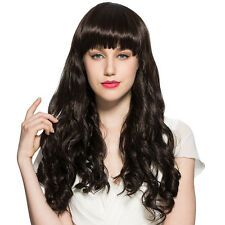 Natural Black Wig Long Water Wavy Kinky Curly Hair Wigs With Neat Bangs Fiber