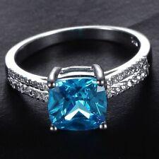 Handmade Natural 2.0ct Blue Topaz  Size US 7 14K White Gold Ring CM109