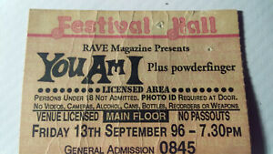 You Am I plus Powderfinger - Festival Hall 1996 -Brisbane -Concert Ticket - used