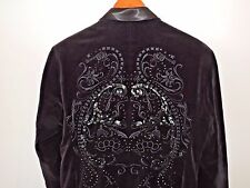 Artful Dodger Black Velvet Embellished Mens Tuxedo Styled Blazer SZ L Mint