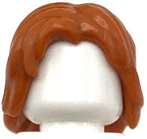LEGO Neuf Foncé Orange Figurine Cheveux mi-Longueur Ébouriffé Avec Centre Pièce