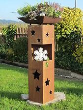 Säule + Schale Sterne  Deko Edelrost Rost Holz Weihnacht Windlicht Garten Winter