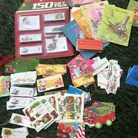 MEGA Lot VINTAGE Christmas Ephemera Gift Wrap Paper Tags Old Aged From the 70s