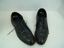 vintage black leather long  wingtip oxford silk label portage wood nail soles