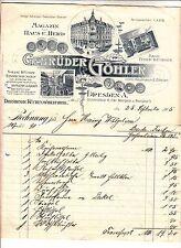 Litho Rechnung Gebrüder Göhler Dresden A Küchenmöbel Herd 1905 !