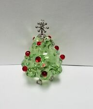 "Swarovski crystal Christmas tree green ornament 2"" swan logo"