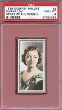 1936 Stars of the Screen Card #2 MYRNA LOY The Thin Man Actress MONTANA PSA 8