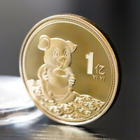 2019 Lucky Pig Commemorative Coin Chinese Zodiac Gold Plated Coins New Year hf