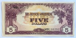 1942 Malaya Japanese Occupation WWII Five Dollar Banknote Serial Number MB198352