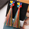 Women Crystal Rhinestone Tassel Stud Ear Earrings Dangle Drop Jewelry Colorful