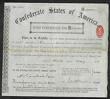 Confederate States of America, scrip certifcate for $10.000 CRISWELL # 175
