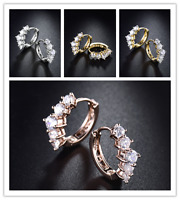 HUCHE Flower Laurel Diamond Clear Sapphire Silver Gold Filled Lady Party Earring