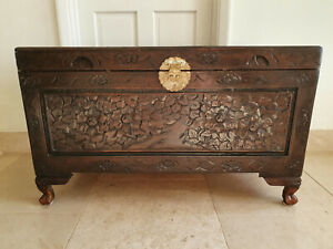 Chinese / Asian Detailed Hand Carved Antique Softwood Wooden Chest Trunk Box