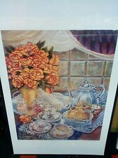 K. Haines Dench Signed Numbered Roses & Tea Set Lithograph Print #139/#400.