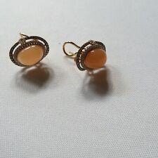 peach moonstone/ 18k gold earrings/ champagne, white diamonds/Gem quality/IGL