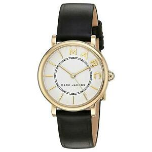 Womens Marc Jacobs MJ1537 Gold Black Leather Watch RRP £299