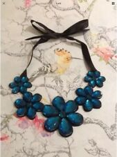 *Vintage Style Black & Blue Flower Gem Bib Necklace With Ribbon*