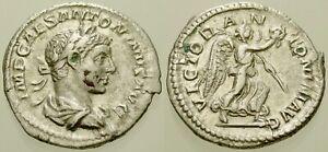 002. Roman Silver Coin. ELAGABALUS, AR Denarius. Rome. Victory. VF