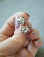 2Ct Round Cut Diamond Vintage Milgrain Stud Earrings in 14K White Gold Finish