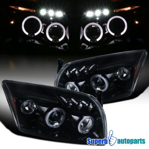 For 2007-2012 Dodge Caliber Glossy Black LED Halo Projector Headlights Smoke