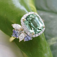 Elegant Prehnite & White Topaz 925 Silver Jewelry Women Wedding Engagement Ring