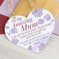 Mothers Day Gift Hanging Sign For Mum Nan Heart Love Sign Plaque Birthday