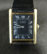 Gold Plated Must De Cartier Tank Argent Watch With Strap