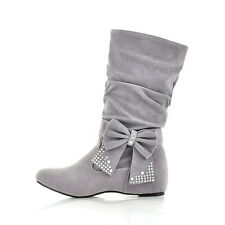 Cute Autumn Women's Low Heel Mid-Calf Bowknot Boots Shoes US All Size B161