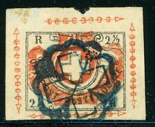 SWITZERLAND Used Selections: Scott #1L5 2½R Zurich Cantonal Forgery REFERENCE