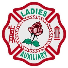 "Ladies Auxiliary Fire Dept. Reflective 3"" Maltese Cross Decal Sticker"