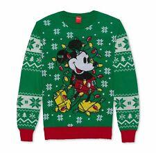 $180 Hybrid Men Green Crew-Neck Mickey Mouse Sweater Christmas Sweatshirt Size L