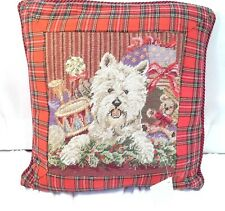 West Highland White Terrier Needlepoint Christmas Plaid  Red  Dog Pillow  10""