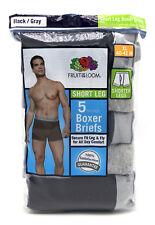 20 Black Gray XL 40-42 Inch Short Leg Boxer Briefs Fruit Of The Loom 102-107 CM