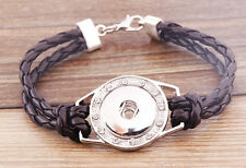 Handmade DIY rhinestone nosa coffee lether bracelet fit chunk snap button j3425
