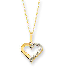 Diamond Mystique Yellow Gold Finish Diamond Heart Necklace 18""