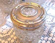 Early ENGLISH Sterling Silver DRESSER JAR HAIR RECEIVER cut crystal Vanity 1930