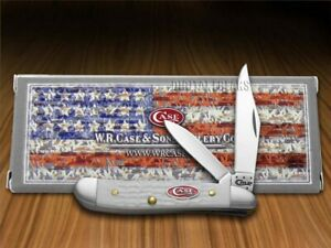 Case xx Sparxx Peanut Knife Jigged White Delrin Stainless Pocket Knives 60188