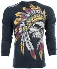 Affliction Men L/S T-Shirt WINDTALKER Indian Skull BLACK Tattoo Biker S-3XL $68