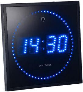 Horloge digitale murale avec 60 LED - Radiopilotée - Bleu - Lunartec