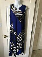 Chicos Womens Handkerchief Dress Geometric Royal Blue White Black Beige Size 2