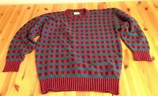 VINTAGE 90s BROOKS BROTHERS Men Sz 42 L WOOL SWEATER Checkboard Blue Red England