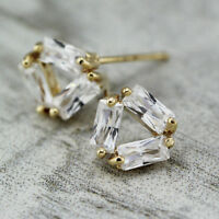 New Women's 18K GOLD Plated Crystal Triangle Fashion Stud Earrings Stunning