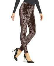 HUE Espresso Brown Wide Waistband Velvet Leggings Size S NWT $36
