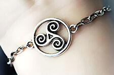 Bdsm Symbol triskele Metal Chain Bracelet cuff slave Submissive Dominant gift