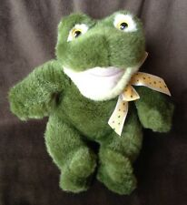 Mary Meyer Green Plush Frog Croaking Sound 1996 Yellow Ribbon Bow Soft Animal