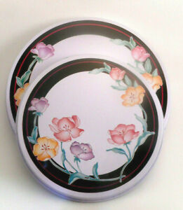 4 Piece Flower Floral Yellow Electric STOVE RANGE BURNER COVERS Round White