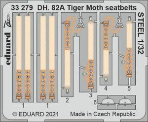 Eduard Zoom 33279 1/32 de Havilland DH.82A Tiger Moth seatbelts STEEL ICM